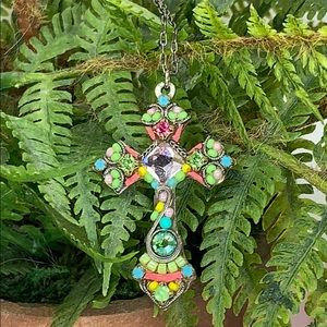 Firefly multicolor beaded cross pendant necklace